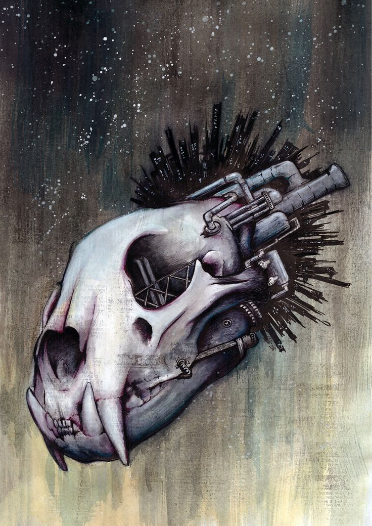 Skull Mine - Lion #1  Illustration by Ryan Allan.  I wonder what we will do, when all this planet's resources are exhausted. Should we move out into space and colonize another planet, will we have learned our lesson or will we apply the same model that brought our home to ruin?  I'm currently exploring topics of species extinction, industrialization, and notions of space exploration (colonization?). This is one of the first pieces in processing this.    Prints available in A3 and A4