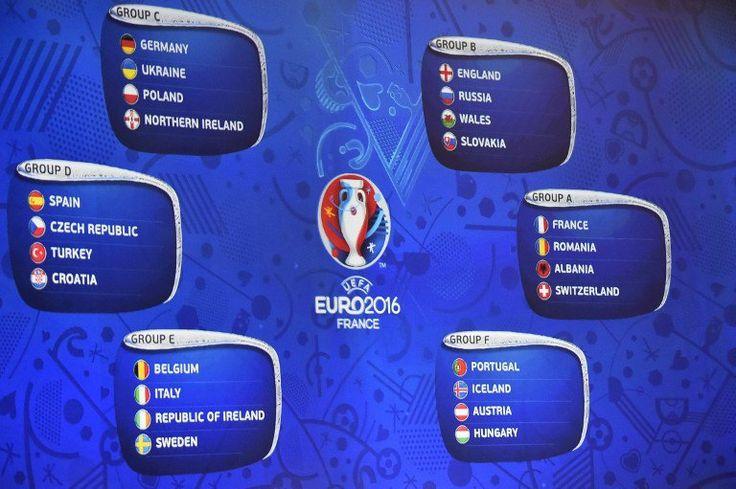 Die Fußball EM 2016 nimmt Form an - die EM-Auslosung am 12.Dezember 2015 mit den sechs EM-Gruppen. AFP PHOTO / LOIC VENANCE