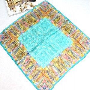 Vintage Blue Totem Pattern Large Silk Square Scarf