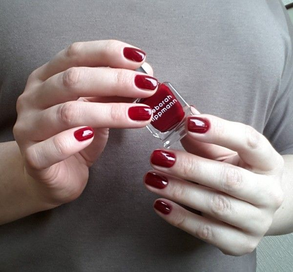 "Deborah Lippmann Nail Polish in ""Lady is a Tramp"". Dark sanguine red."