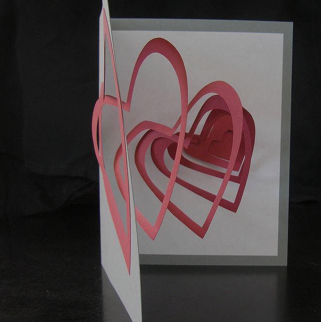 Spiral Heart Pop Up Card 3 D Paper Crafts Heart Pop Up Card