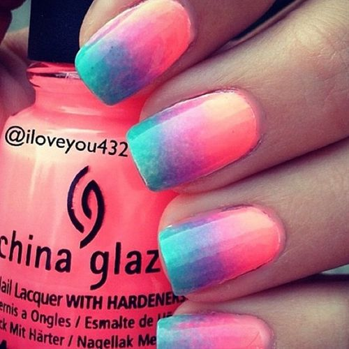 Really cute summer ombre nails! Love how happy they look! - Click image to find more nail art posts