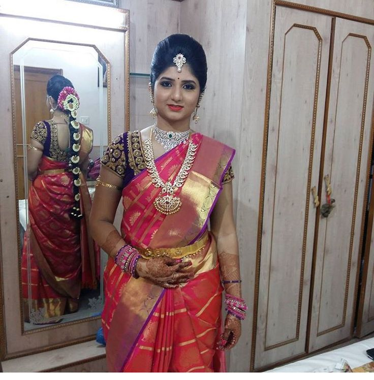 South Indian bride. Diamond Indian bridal jewelry.Temple jewelry. Jhumkis.Red silk kanchipuram sari with contrast green blouse.braid with fresh jasmine flowers. Tamil bride. Telugu bride. Kannada bride. Hindu bride. Malayalee bride.Kerala bride.South Indian wedding.
