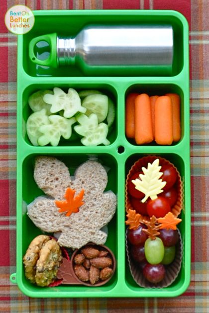 turkey & cheese leaf sandwich, cucumber oak leaves, iced tea in the cute little 8 oz stainless steel bottle, baby carrots, grape tomatoes & grapes, a couple of chocolate chip cookies, and in the little squirrel cup, some spiced almonds