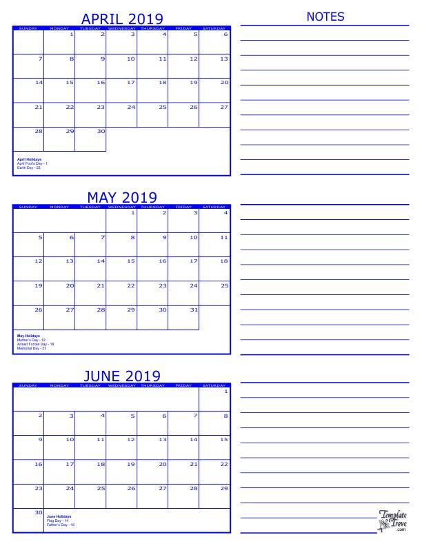 3 month calendar april may june 2019  april  may  june  2019calendar
