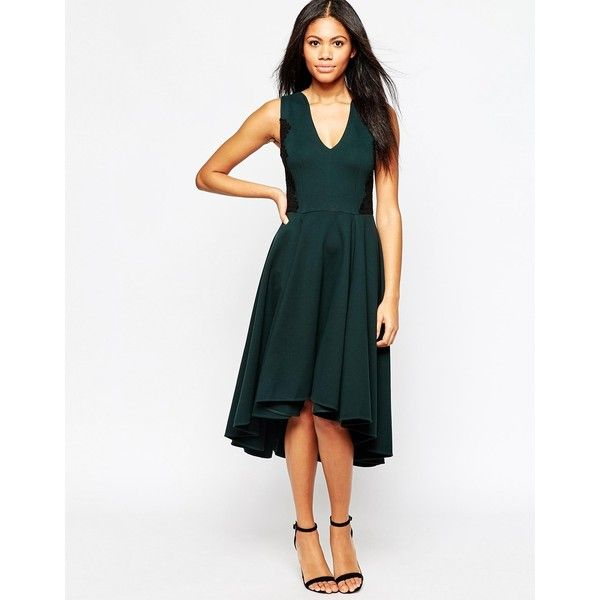 6d0ba8a146cc Hazel V Neck Midi Skater Dress ( 137) ❤ liked on Polyvore featuring dresses