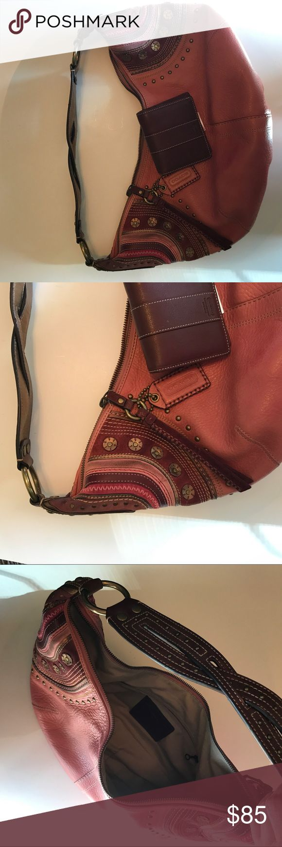 Coach Pink Leather and Suede Purse With Wallet Coach hobo bag with matching wallet. Dust bag. Coach Bags Hobos