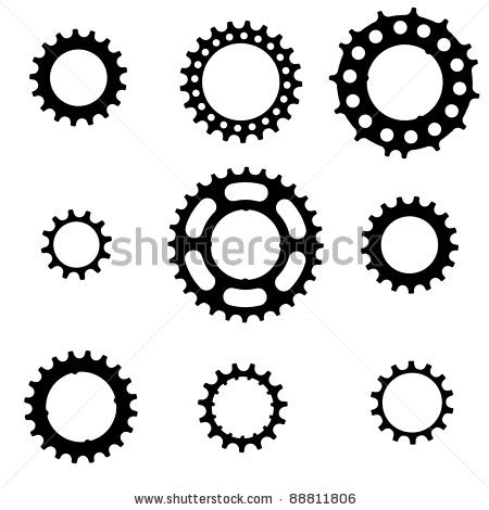 Bike cog Tattoo | Vector: bicycle freewheel cogs (sprockets, gears) of various types and ...