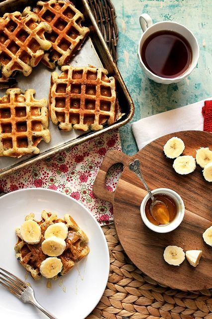 9 Waffle Recipes That'll Make You Want Breakfast All Day #refinery29  http://www.refinery29.com/waffle-day#slide-3  Buttermilk Chocolate Chip Waffles With Almond Butter, Banana, & HoneyMakes 2 generous or 4 small servings Ingredients1 1/2 cups all-purpose flour2 tsp baking powder1/2 tsp baking soda1/2 tsp salt3 tbsp granulated sugar1/3 cup melted unsalted butter2 large eggs2 tsp pure vanilla extract1 1/4 cup buttermil...