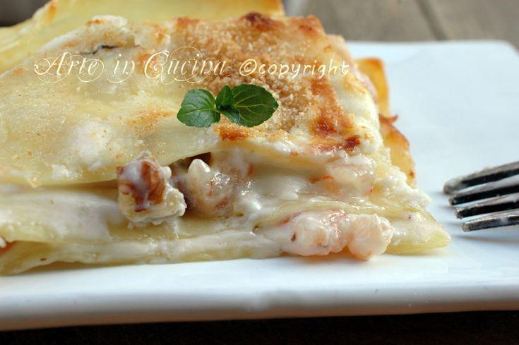 Lasagne gorgonzola e noci con gamberetti