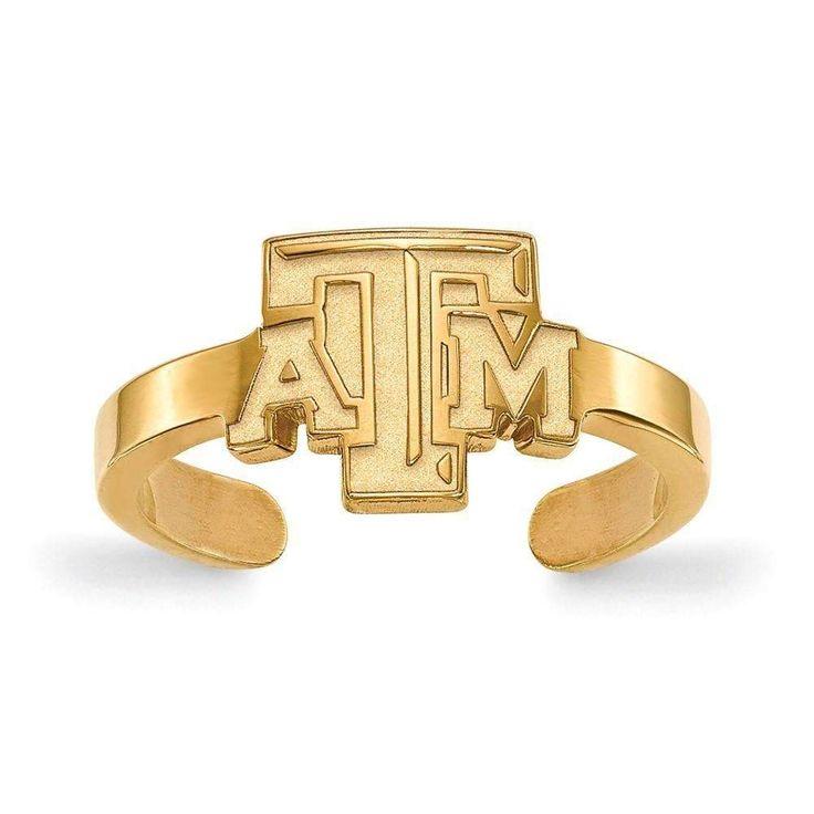 Sterling Silver w/GP LogoArt Texas A&M University Toe Ring