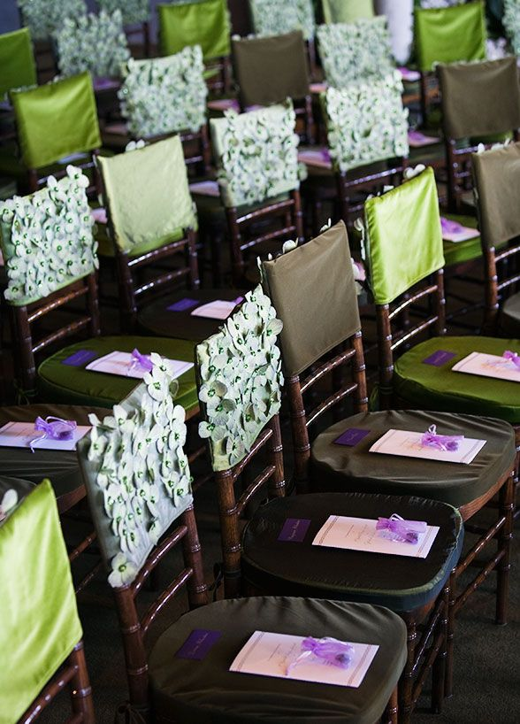 Brown Green And Light Purple Chair Covers With Varying Textures Enhance The Enchanted Forest Feeling