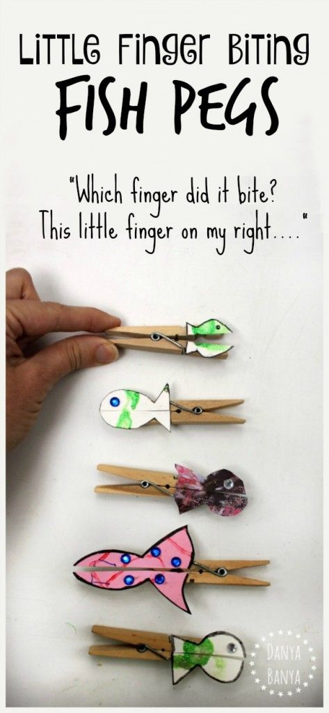 "Little finger biting fish pegs craft using upcycled kids art to go along with the nursery rhyme ""1,2,3,4,5, Once I Caught a Fish Alive"""