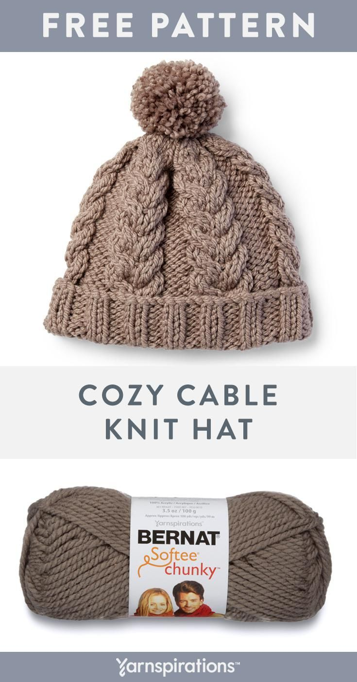 This Free Cable Knit Hat Pattern Uses Two Balls Of Super Bulky Bernat Softee Chu Cable Knit Hat Pattern Beanie Knitting Patterns Free Bernat Softee Chunky Yarn