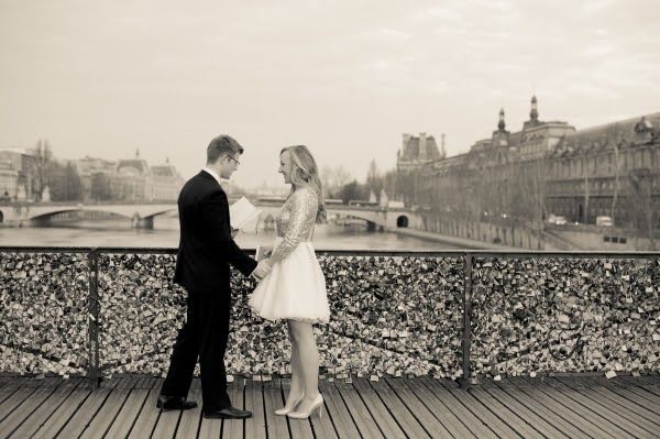 A paris elopement on the love lock bridge classic bride for Locks on the bridge in paris