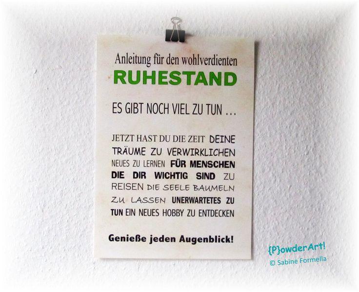 Bild ANLEITUNG für den RUHESTAND No. 1 Druck A4 von {P}owderArt! auf DaWanda.com