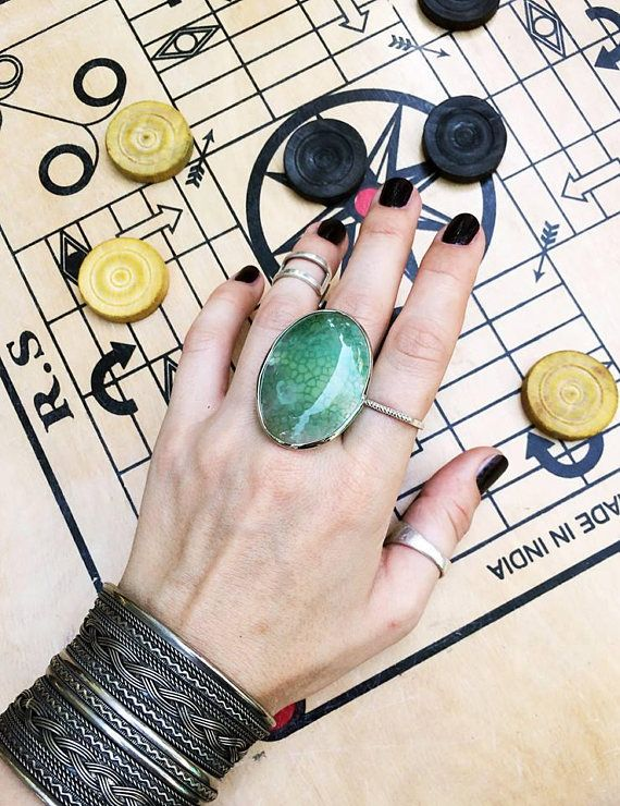 Agate ring for woman big agate ring white stone green stone