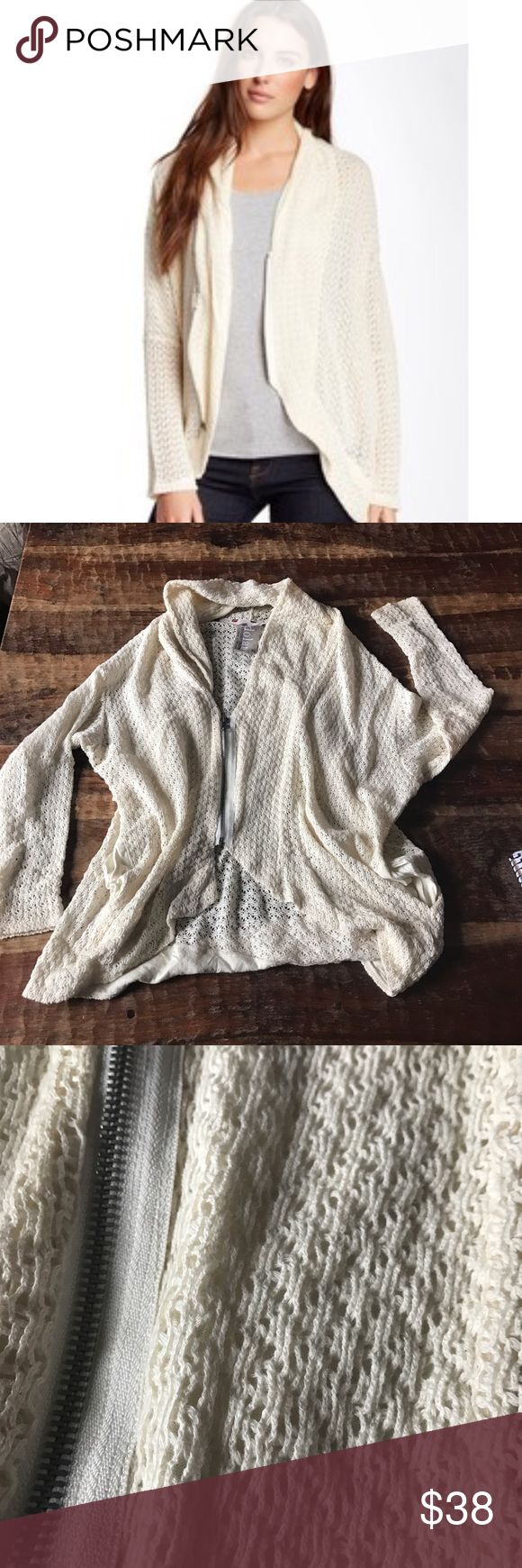 """Dolan Crocheted Zip Up Cardigan Super cute cocoon style Cardigan in excellent condition. Has a loose fit. Chest is 24"""" across laying flat bf flat, and length is 18"""" in the front and 25"""" in the back. Anthropologie Sweaters Cardigans"""