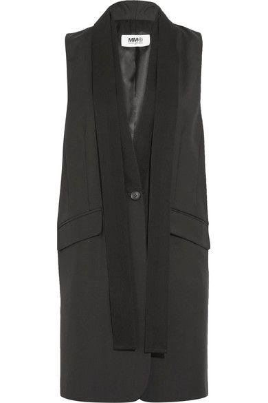 MM6 Maison Margiela - Canvas-trimmed Wool Vest - Black - IT36