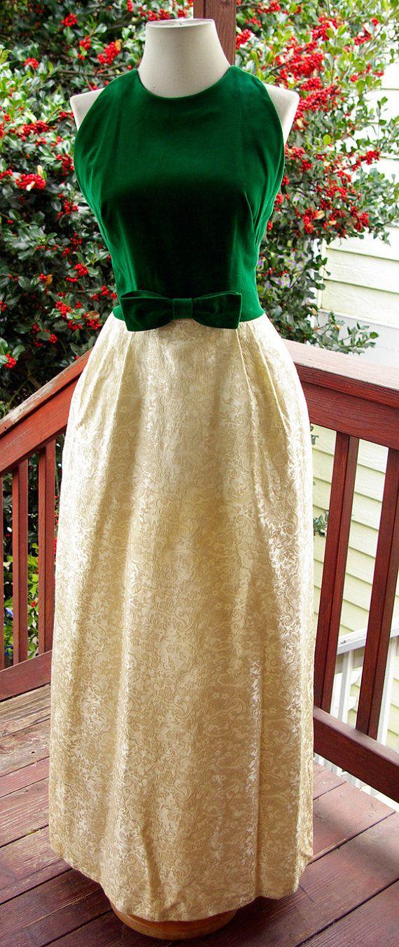 60's Elegant Green Velvet/Champagne Brocade Lorrie by Rabbitwear, $85.00   I absolutely LOVE this dress!!!