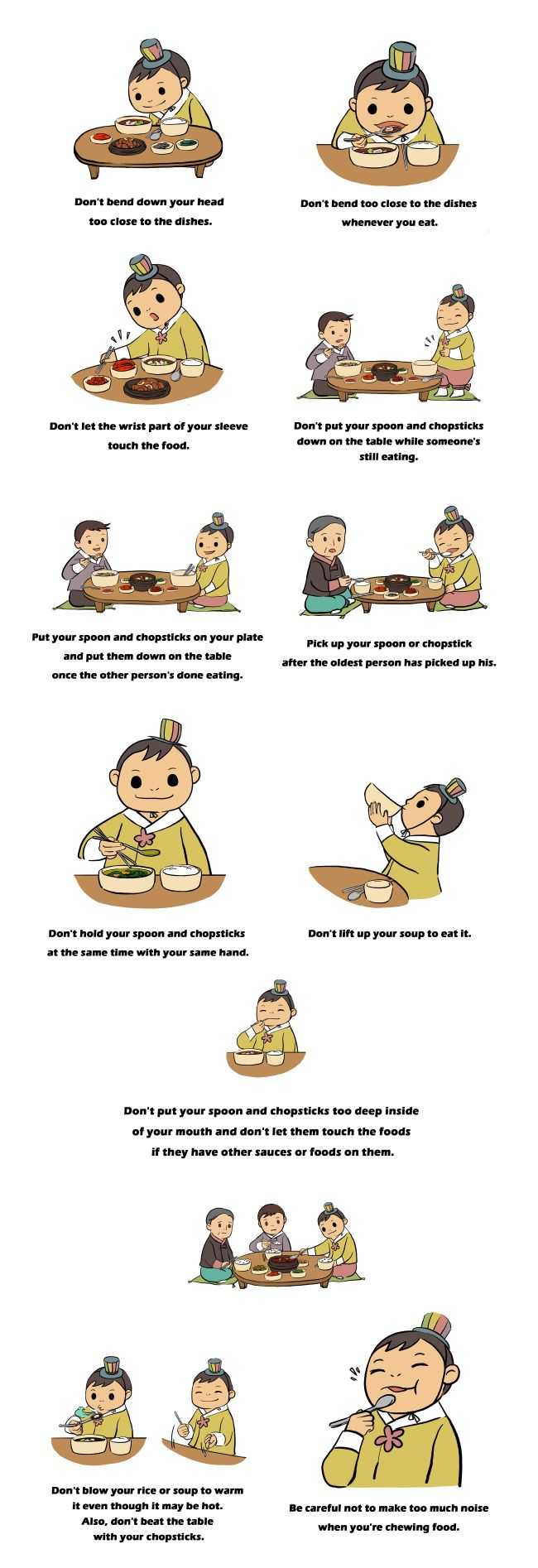 12 Korean table manners to follow - I violated most of these, I think.  Oh, well!