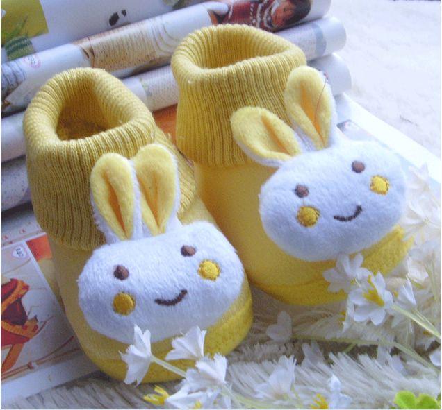 Девочки-младенцы и мальчики зима тёплый носки обувь кролик хлопок сапоги новорожденные младенцы носки обувь