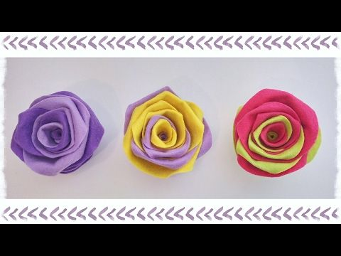 Rose in pannolenci senza cucire - YouTube