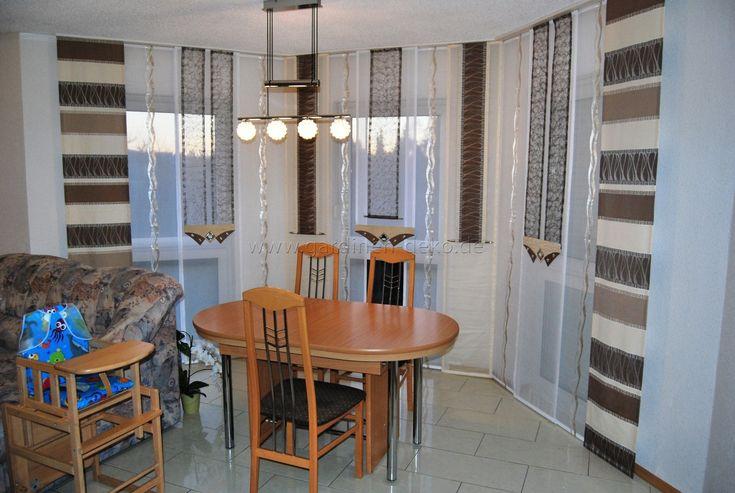 Braun-beige Schiebegardine in Eckform fürs Wohnzimmer -    www