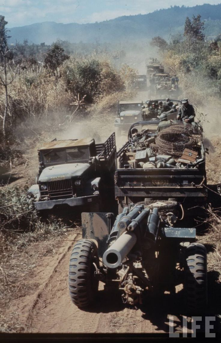 Convoy is arvn army republic of vietnam howitzer battery vehicles are five ton trucks during my two tours unit would pass new 2 ton trucks and 5 ton