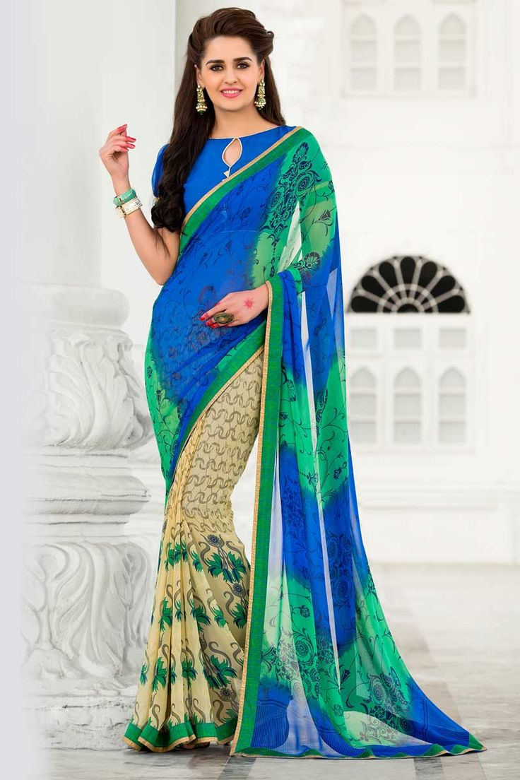 Green Blue With Cream Georgette Saree With Georgette Blouse Price: £ 39 Green Blue with Cream, georgette Printed saree with blue, georgette blouse.  Embellished with embroidery. Saree with Fancy Pallu and Lace Border ,Boat Neck Blouse, Short Sleeve Blouse.  It comes with unstitch blouse, it can be stitched to 34,36,38,40 sizes.    http://www.andaazfashion.co.uk/womens/sarees/green-blue-with-cream-georgette-saree-with-georgette-blouse-dmv9176.html