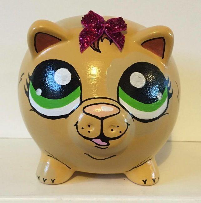 Littlest Pet Shop inspired Animal Hand painted piggy bank money box £12.99