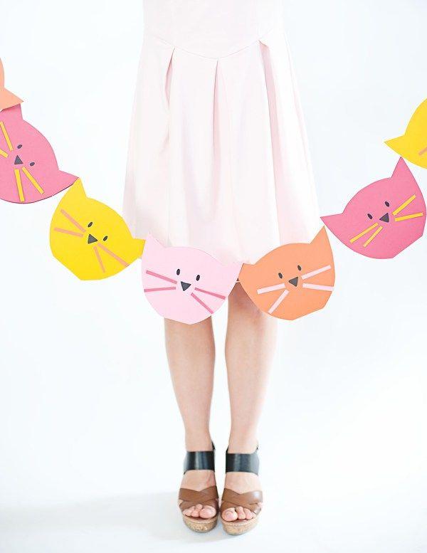 DIY Bunte Wimpelkette mit Kätzchen *** kitty cat garland kids room