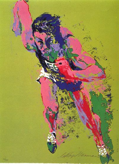 Olympic art | Leroy Neiman Olympic Runner art Painting 50% off