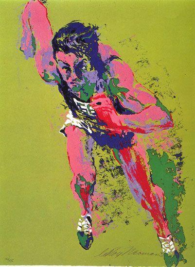 Olympic art | Leroy Neiman Olympic Runner art Painting 50% off