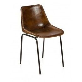 Aged Brown Leather Dining Chairs
