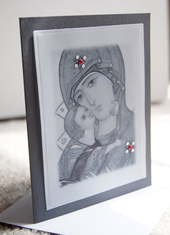 Greek Russian Orthodox handmade greeting cards Icon print with embellishments by Handcrafted Orthodox on Etsy  handmade card
