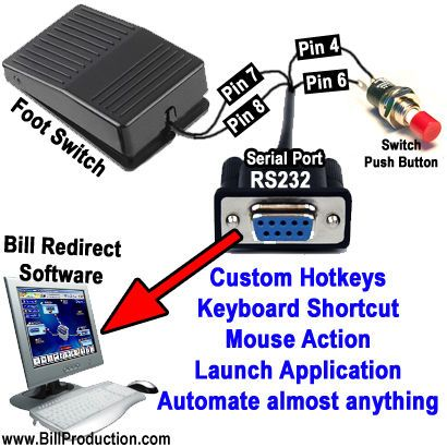 How to create a hotkey Keyboard Shortcut activated by a switch directly connected to RS232 Serial Port. how you can automate almost anything in Windows with a Switch Push Button / Foot Switch connected directly on a Serial Port RS232 Pin 7-8 and 4-6.