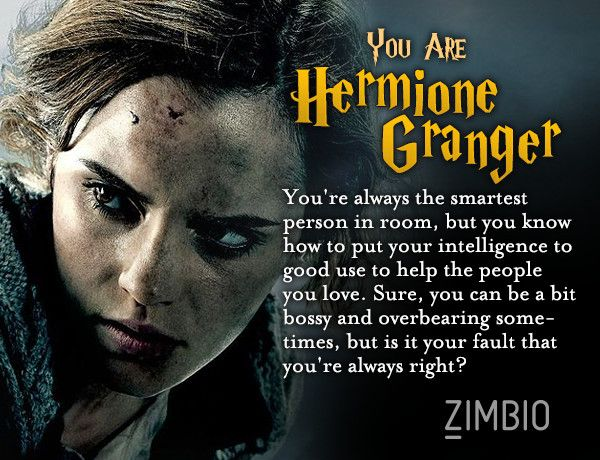 i took zimbio 39 s 39 harry potter 39 personality quiz and i 39 m hermione granger who are you i am. Black Bedroom Furniture Sets. Home Design Ideas