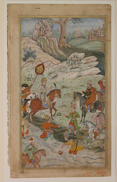 """Meeting between Babur and Sultan 'Ali Mirza near Samarqand"", Folio from a Baburnama (The Book of Babur)"