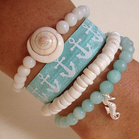 beach bracelet stack , shell jewelry, beach boho bracelets , beachcomber mermaid jewelry