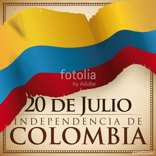 Design with Ragged Flag over Scroll for Colombian Independence Day