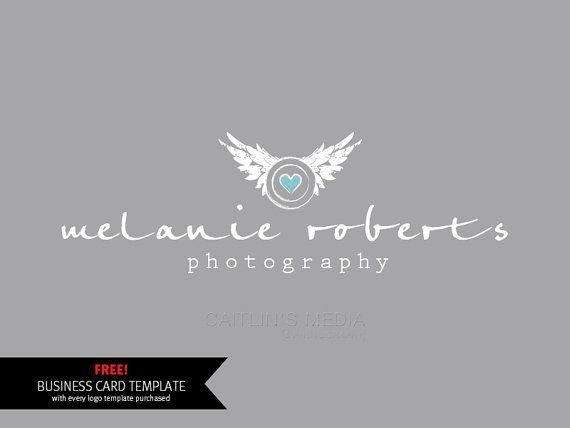 Photography logo design - Wings logo - Heart watermark. Premade logo template - digital download psd file