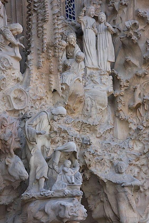 Detail of the Nativity facade of La Sagrada Familia, Barcelona, Spain, architect Antoni Gaudi