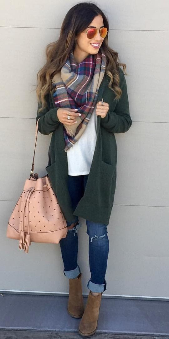 #winter #outfits women's green long-sleeved cardigan. Click To Shop This Look.