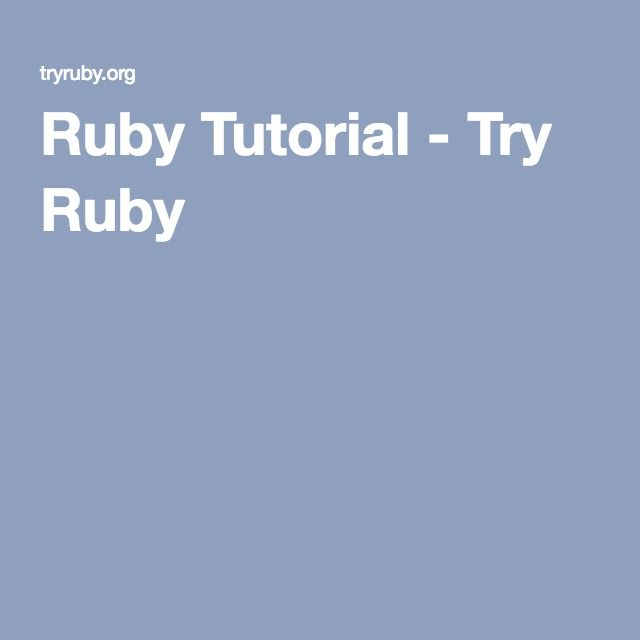 12 best online training courses images on pinterest online learn the basic building blocks of the ruby programming language in code schools try ruby course fandeluxe Gallery