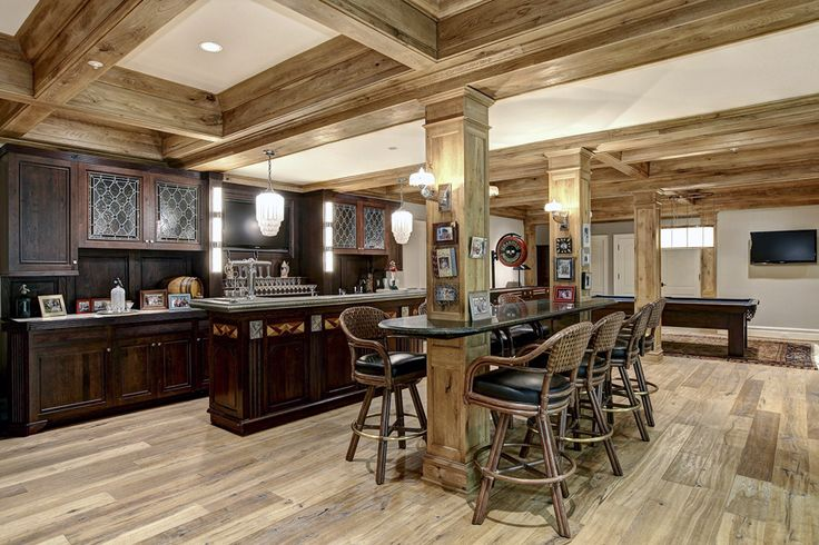 Rustic basement kitchen decor basement ideas pinterest columns basement man caves and decor - Rustic bar ideas for basement ...