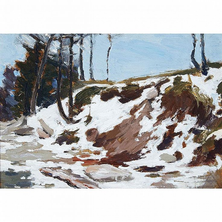 """Snowy Hillside,"" Franklin Carmichael, oil on panel, 6 x 8.25"", private collection."