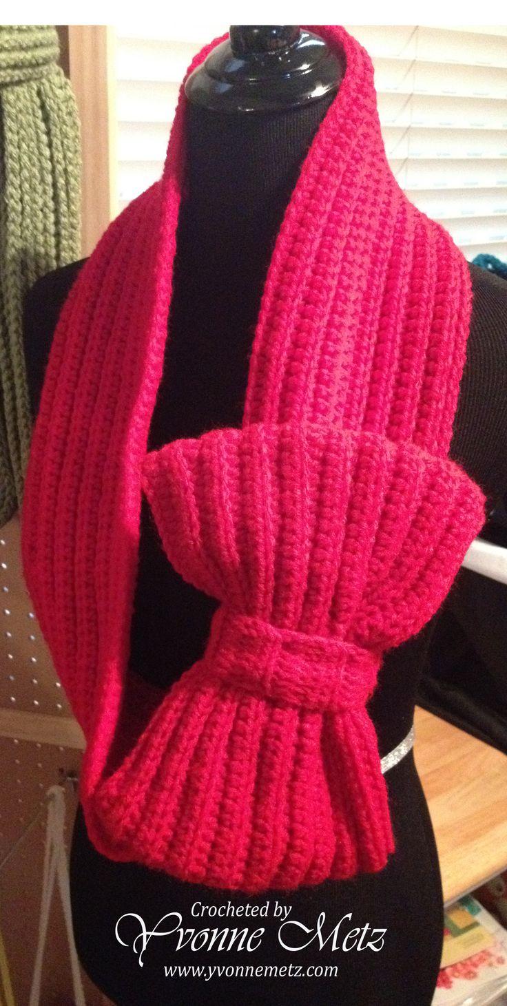big bow scarf free crochet pattern by yvonne metz. Black Bedroom Furniture Sets. Home Design Ideas