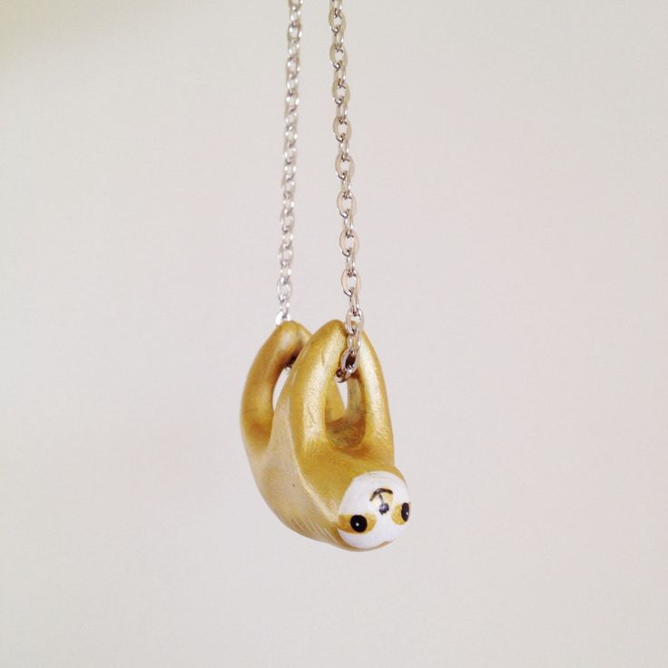 Sloth Necklace. Golden Boy. with Hand Sculpted by YellowTreeStore