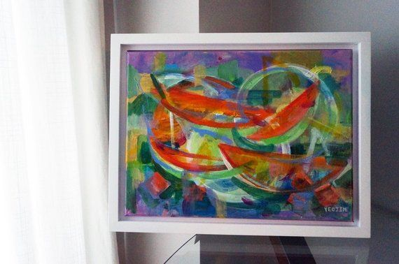 Brilliant Purple And Orange Abstract Art By Yeojin Jung Cantaloupe Complete Home Design Collection Epsylindsey Bellcom